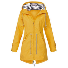 Load image into Gallery viewer, Women Windproof Long Hooded Jackets Waist Tightening With Zip Thin Outwear Multi Color Autumn Winter Coats Sporting Outdoor Coat