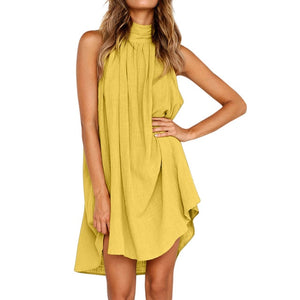 Summer Women Halter Sleeveless Sexy Fashion Dress Holiday Ladies Irregular Party Mini Dresse Female Beach Casual Loose Dress