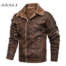 Load image into Gallery viewer, Men Old Fashioned Suede Leather Jackets Vintage Military Jacket Winter Coat Warm Casual Leather Jackets PU Slim Fit Male Zipper