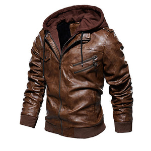 Men Old Fashioned Suede Leather Jackets Vintage Military Jacket Winter Coat Warm Casual Leather Jackets PU Slim Fit Male Zipper