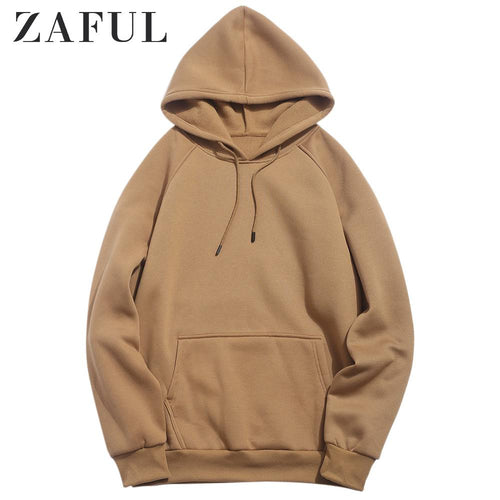 ZAFUL Basic Solid Pouch Pocket Fleece Hoodie 2019 New Autumn Winter Warm Tops Full Sleeves Casual Pullover Sweatshirts For Men
