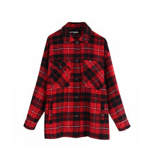 Load image into Gallery viewer, Vintage Stylish Pockets Oversized Plaid Jacket Coat Women 2020 Fashion Lapel Collar Long Sleeve Loose Outerwear Chic Tops