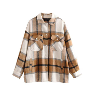 Vintage Stylish Pockets Oversized Plaid Jacket Coat Women 2020 Fashion Lapel Collar Long Sleeve Loose Outerwear Chic Tops