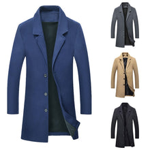 Load image into Gallery viewer, 2019 New Men's Stylish Wool Long Coat Men Autumn Winter Warm Casual Solid Slim Business Overcoat Woolen Jacket Parka Male Coats