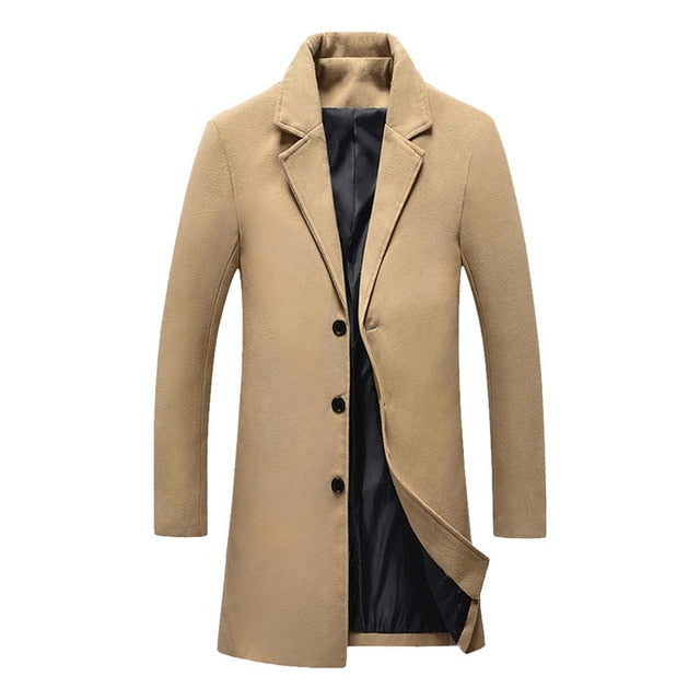2019 New Men's Stylish Wool Long Coat Men Autumn Winter Warm Casual Solid Slim Business Overcoat Woolen Jacket Parka Male Coats