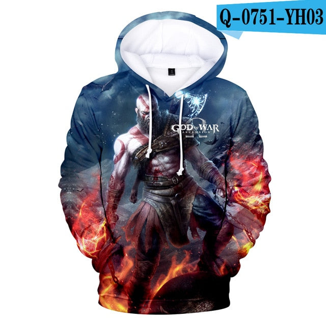 GOD OF WAR Hoody Hoodie Sweatshirt 2019newest Cool And Fashion Style 3D Print boys/girls Long Sleeved Loose Hoodies Clothes