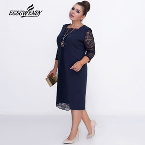 Big Size Elegant Long sleeves Patchwork Lace Dress L-6XL 2019 Spring Dress Women Dresses Plus Size Women Clothing Vestidos