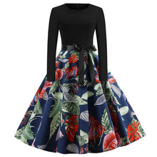 Load image into Gallery viewer, Winter Christmas Dresses Women 50S 60S Vintage Robe Swing Pinup Elegant Party Dress Long Sleeve Casual Plus Size Print Black