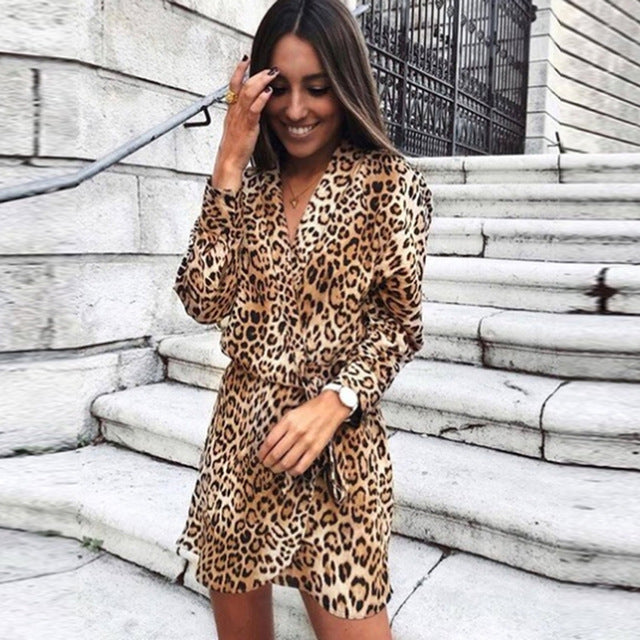 Party Dress Sexy Women V-Neck Leopard Print Shirt Dress 2019 Spring Summer Office Elegant Ladies Wrap Loose Mini Dress