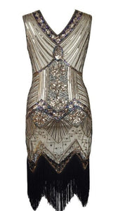 Factory Vintage 1920s Flapper Great Gatsby Dress 2018 Summer Fancy Costumes V-Neck Cap Sleeve Sequin Fringe Party Midi Dresses