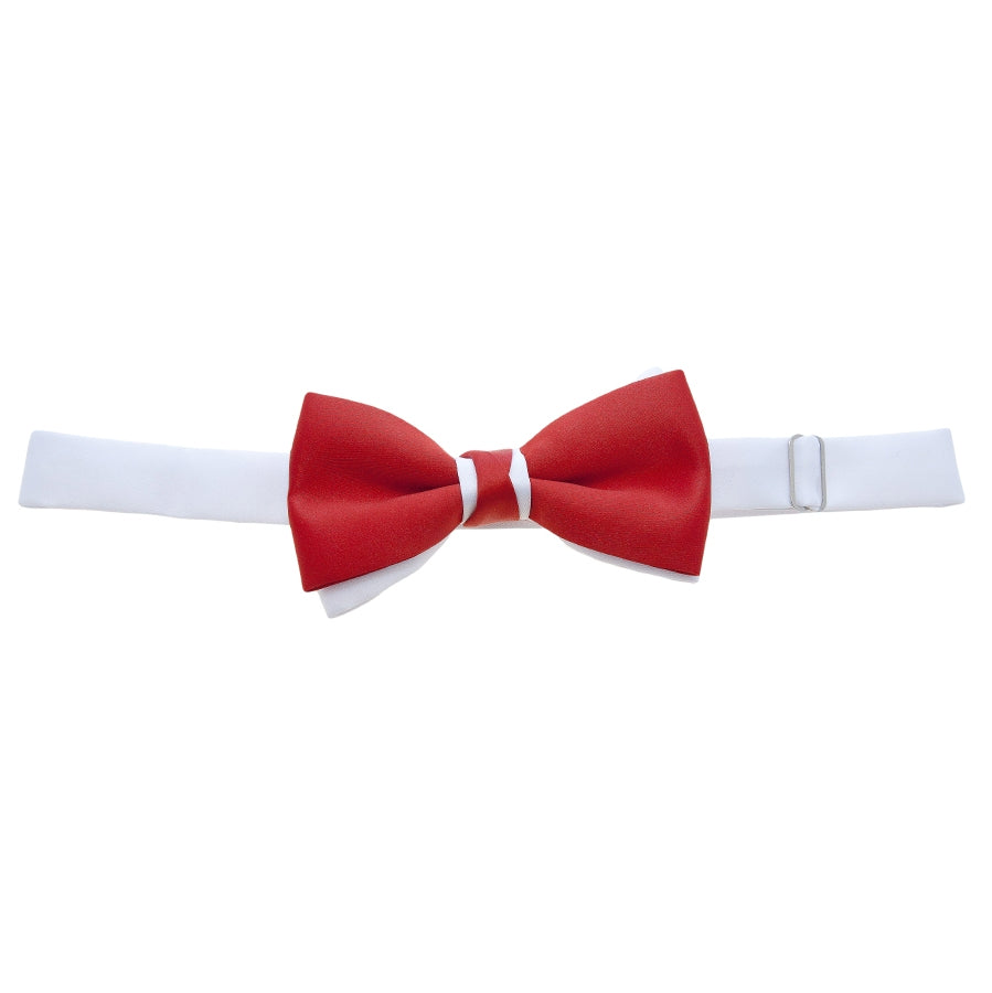 Two Tone Bow Tie in Red and White