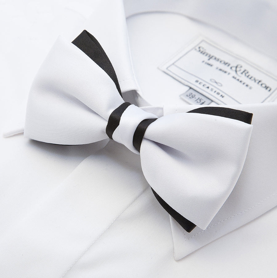 Coes Two Tone Bow Tie in White and Black