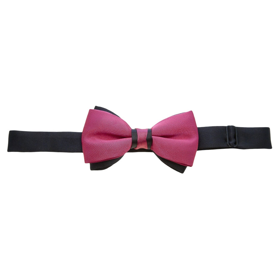 Two Tone Bow Tie in Hot Pink and Black