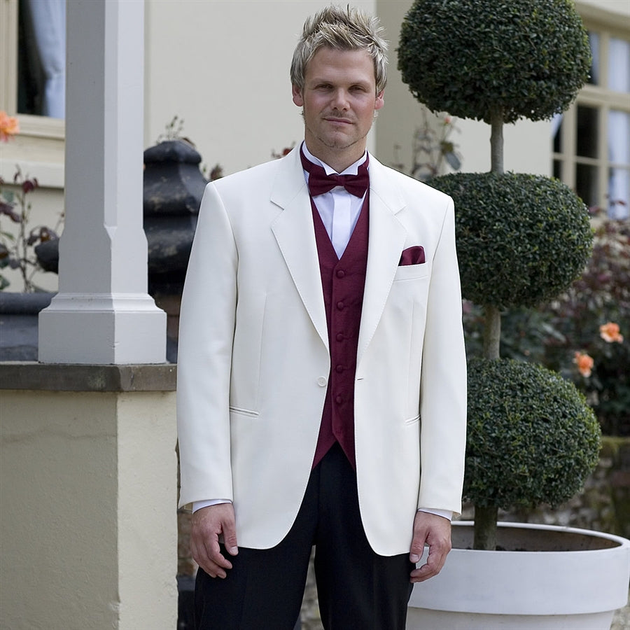 White Tuxedo Jacket in Step Collar Style