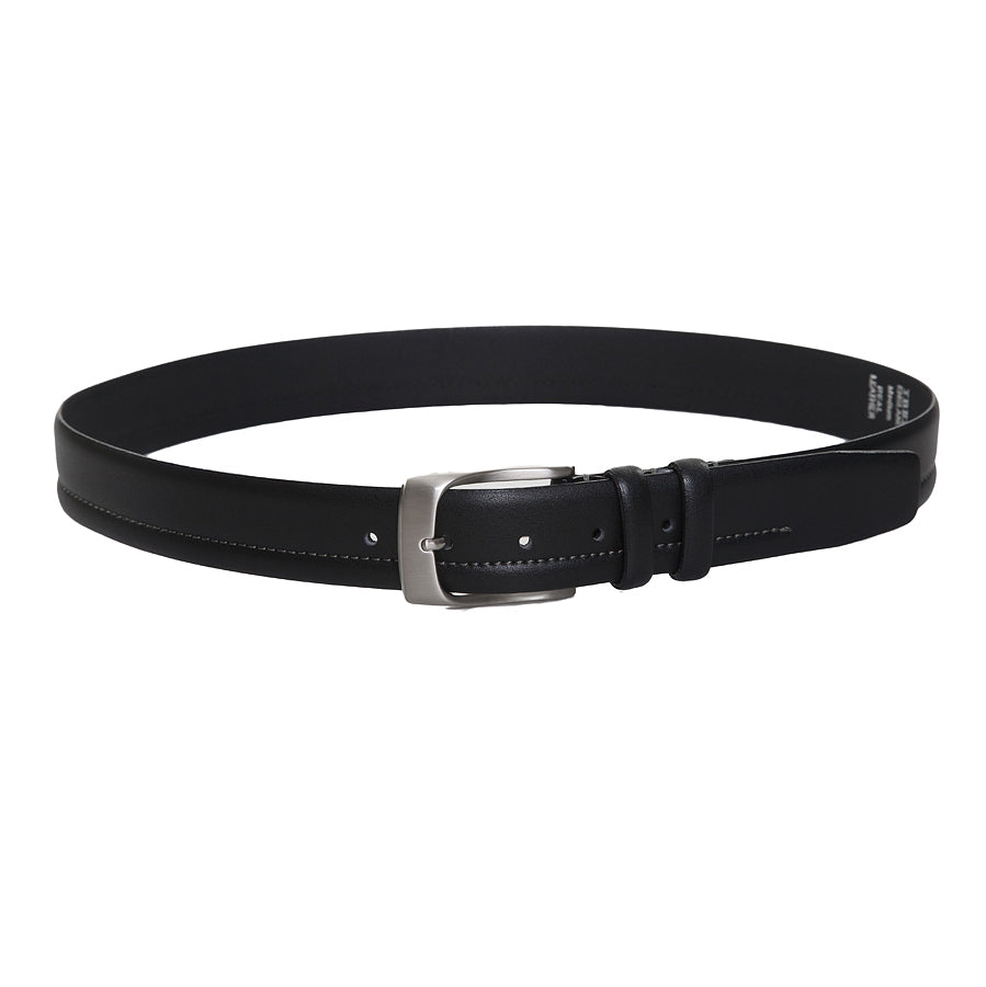 Feather Edge Leather Belt in Black 35mm width