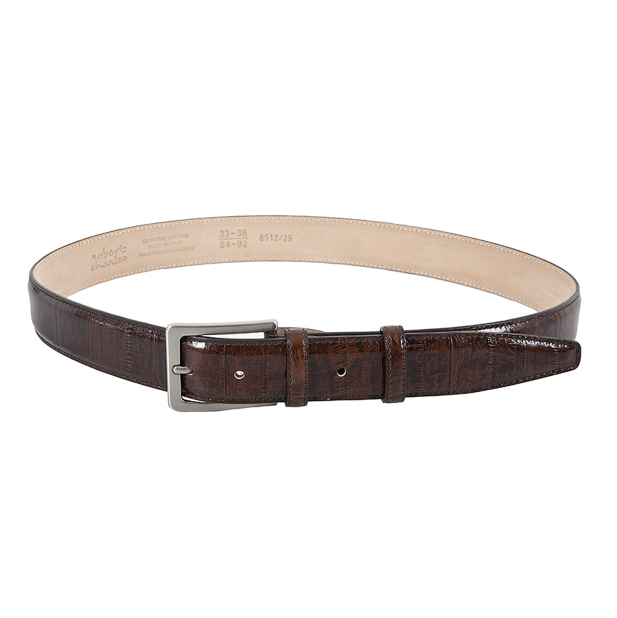 Leather Belt in Eel Brown