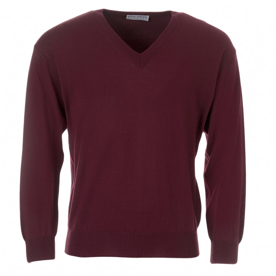 V-Neck Pullover for Men in Wine