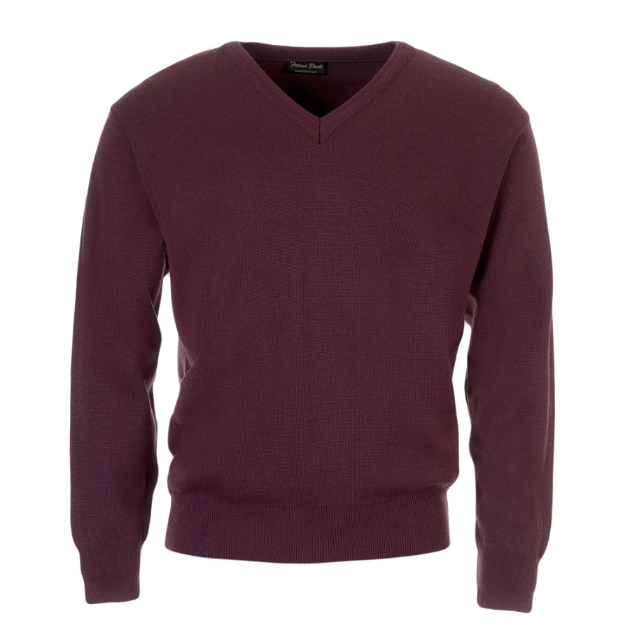 V-Neck Pullover for Men in Dark Damson