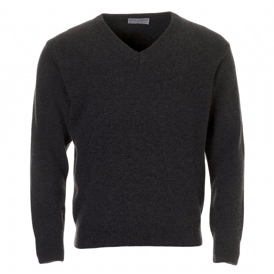 Lambswool V-Neck Sweater in Charcoal Grey