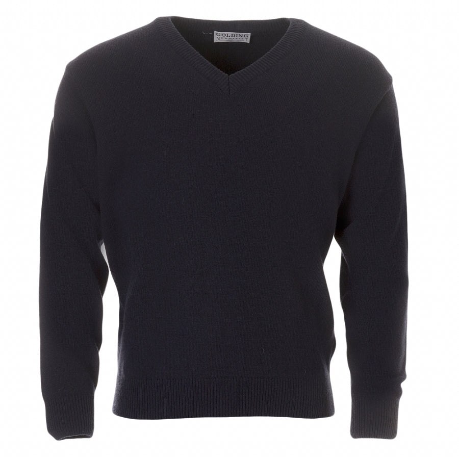 Lambswool V-Neck Sweater in Navy