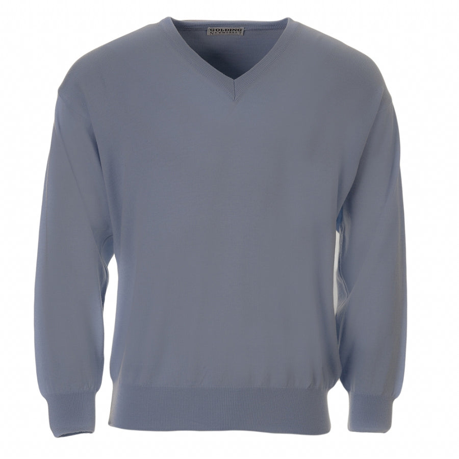 Lambswool V-Neck Sweater in Sky