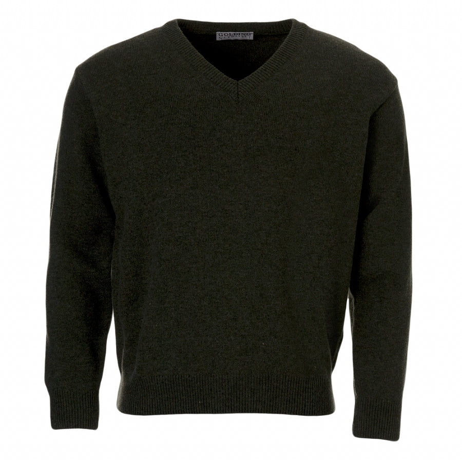 Lambswool V-Neck Sweater in Forest