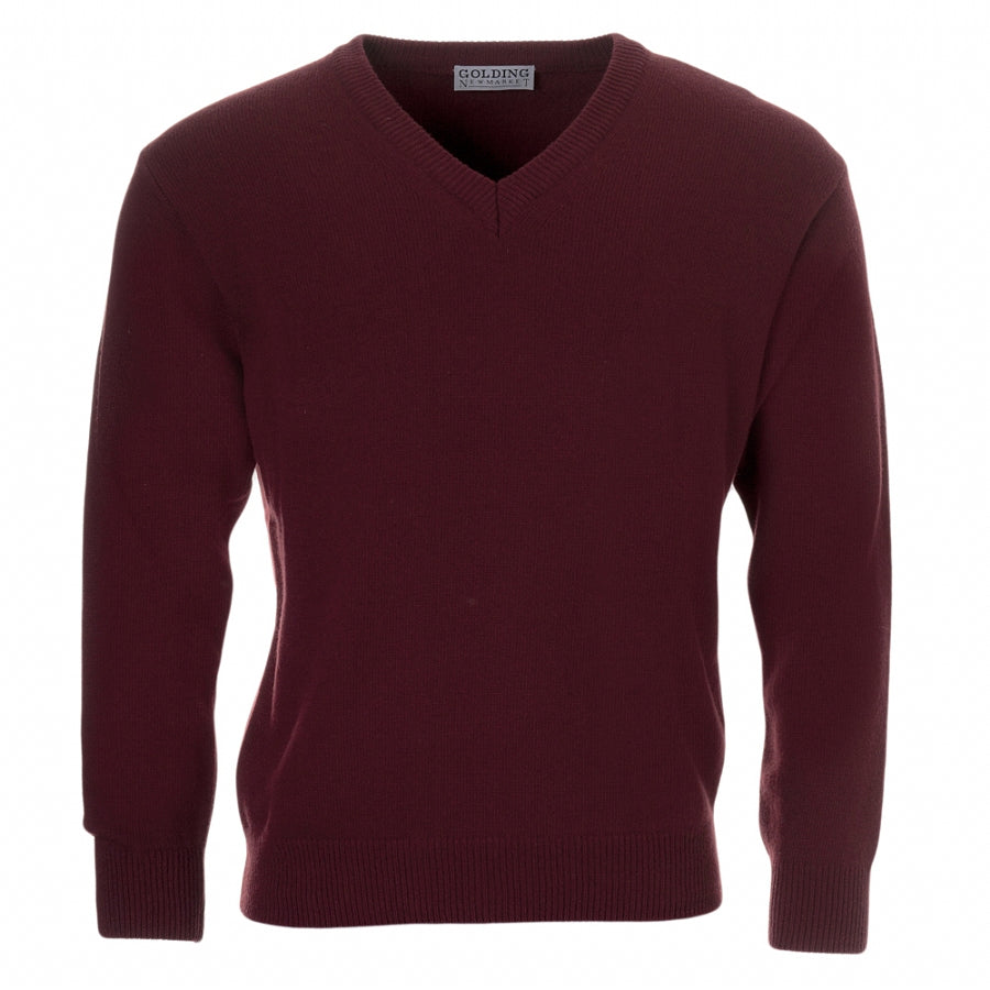 Lambswool V-Neck Sweater in Bordeaux