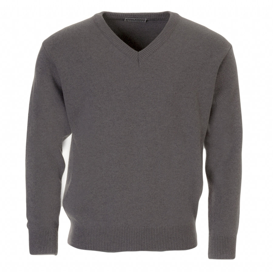 Lambswool V-Neck Sweater in Silver