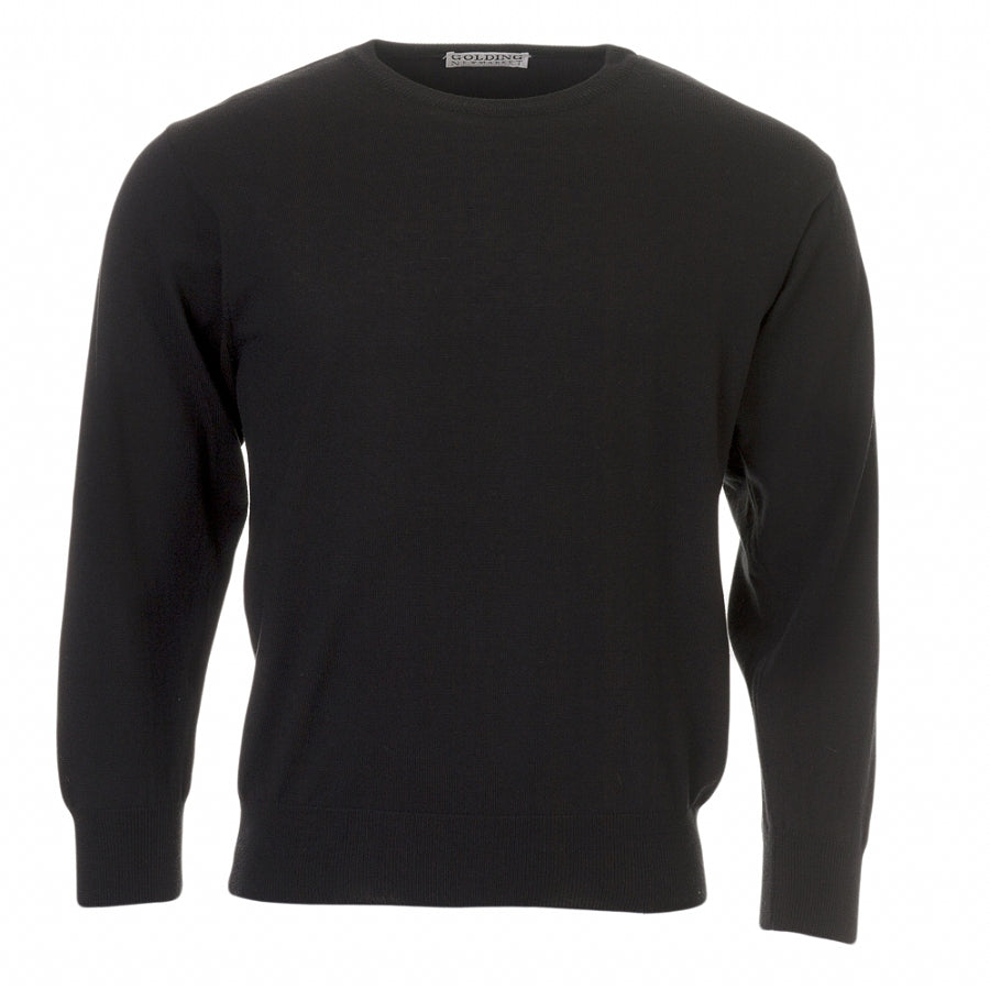 100% Merino Wool Crew Neck Pullover in Black