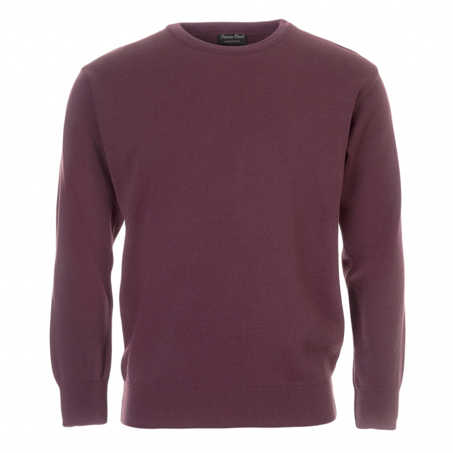 Crew Neck Pullover for Men in Damson