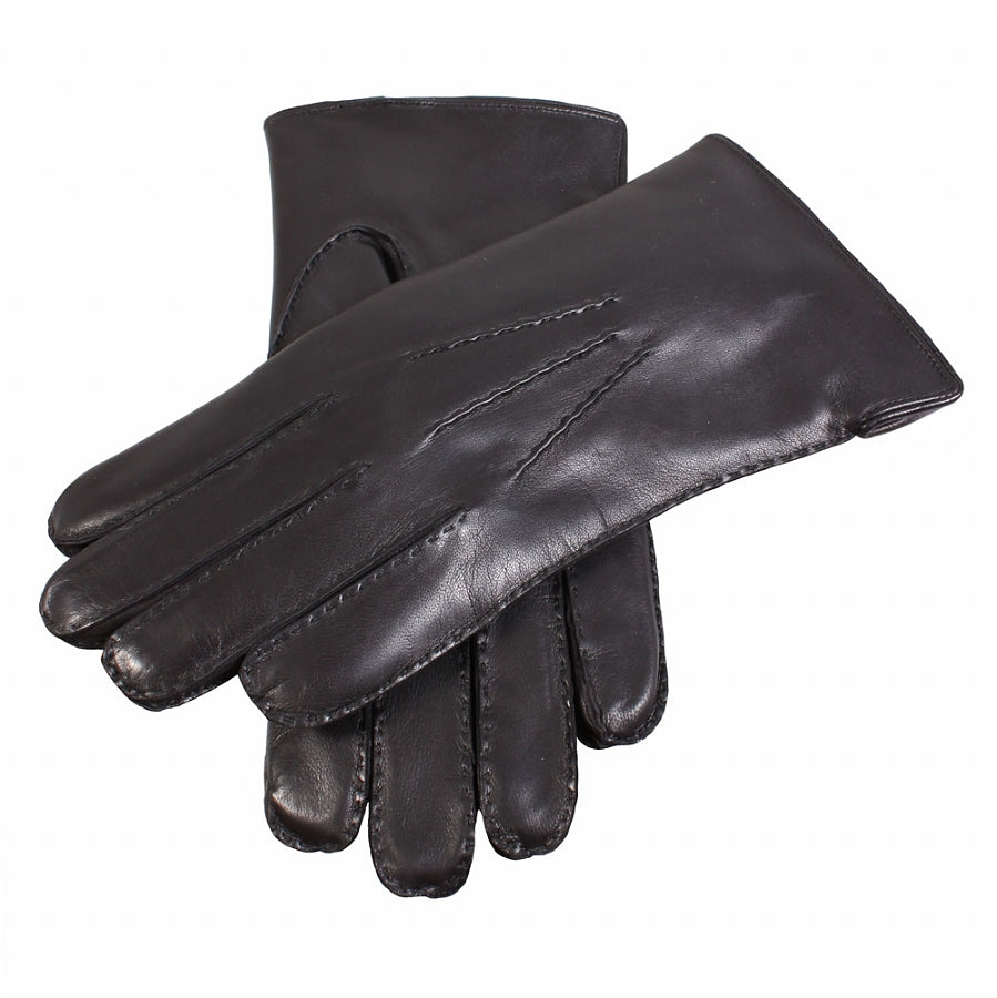 Fur Lined Leather Gloves for Men in Black