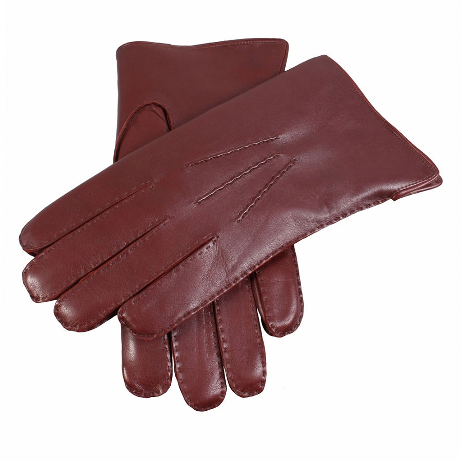 Fur Lined Leather Gloves for Men in English Tan