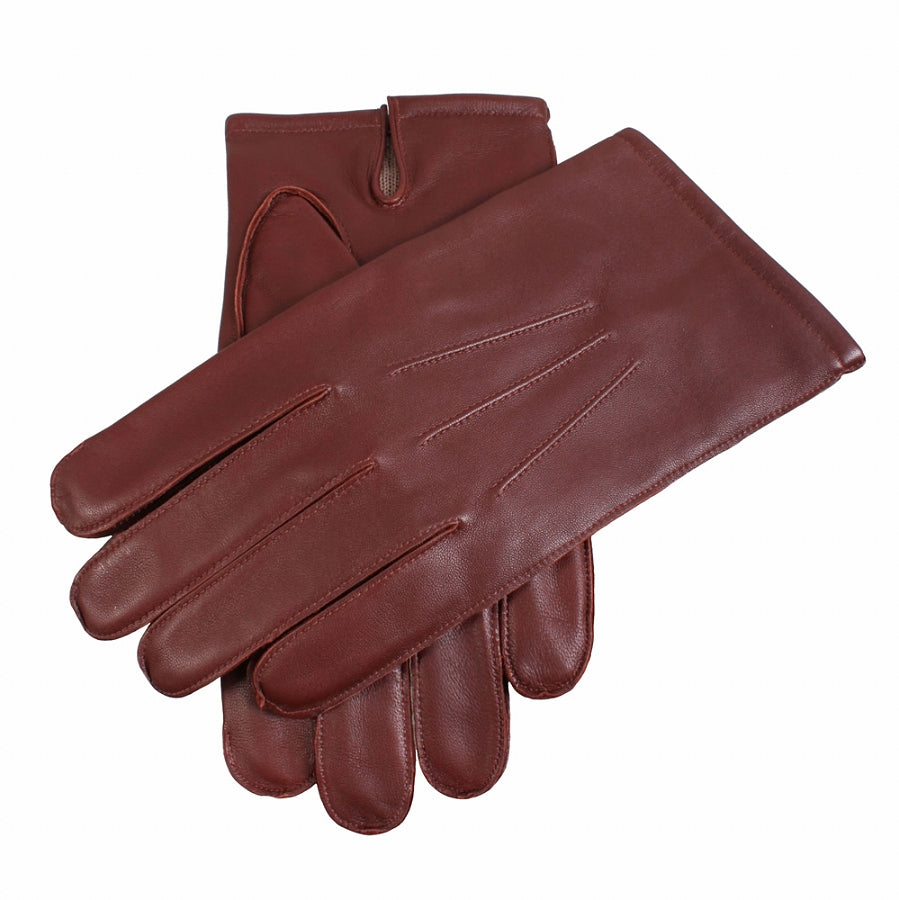 Plain Leather Gloves for Men in English Tan