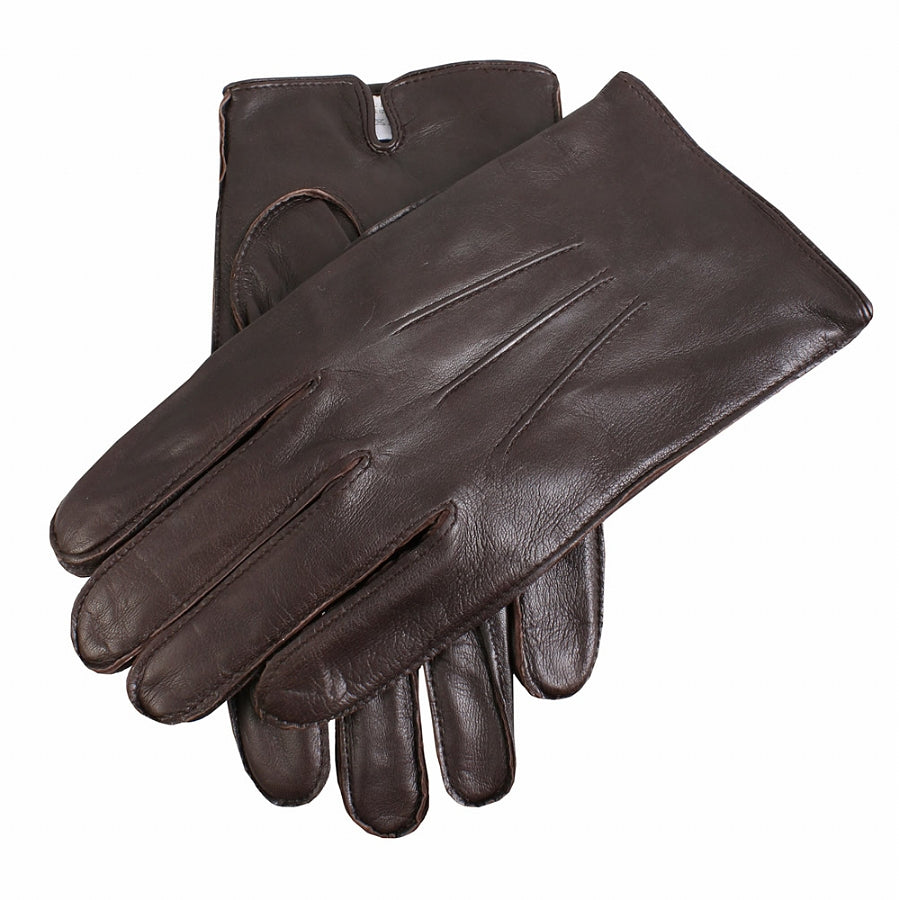 Fleece Lined Leather Gloves for Men in Brown
