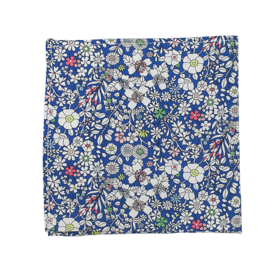 Pocket Square made from Liberty fabric for Men in Cobalt