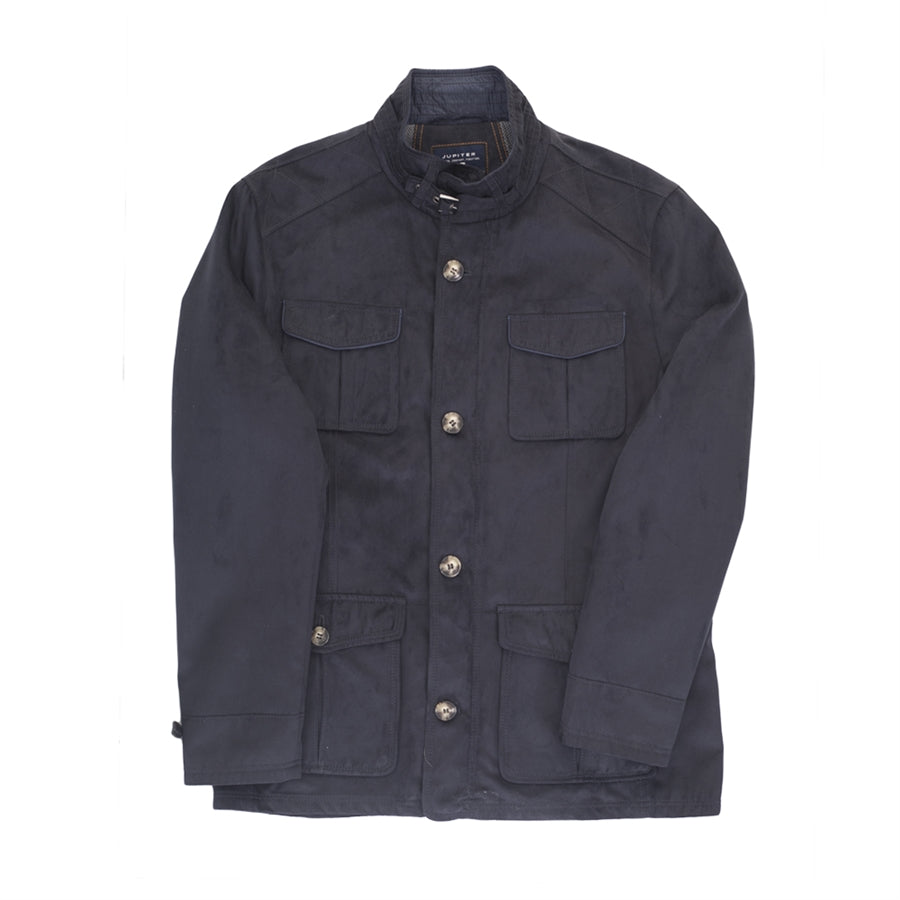 Velour Casual Coat for Men in Navy