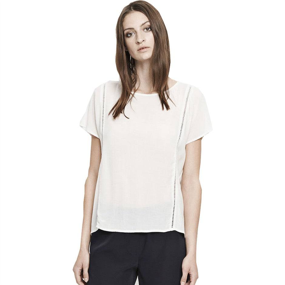 AMELIA Short Sleeve Top for Women in White Sand