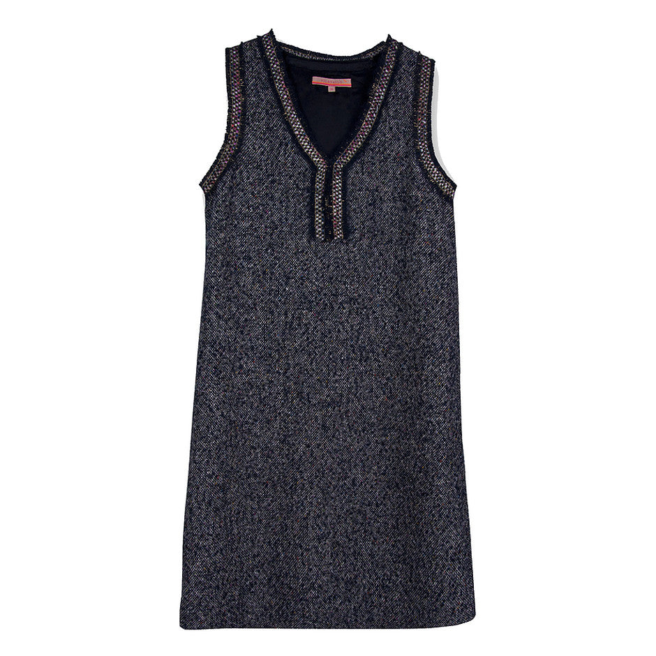 Iris Pinafore Shift Dress for Women in Navy Paris Tweed