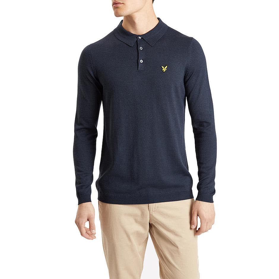 Long Sleeve Knitted Polo Shirt for Men in Navy