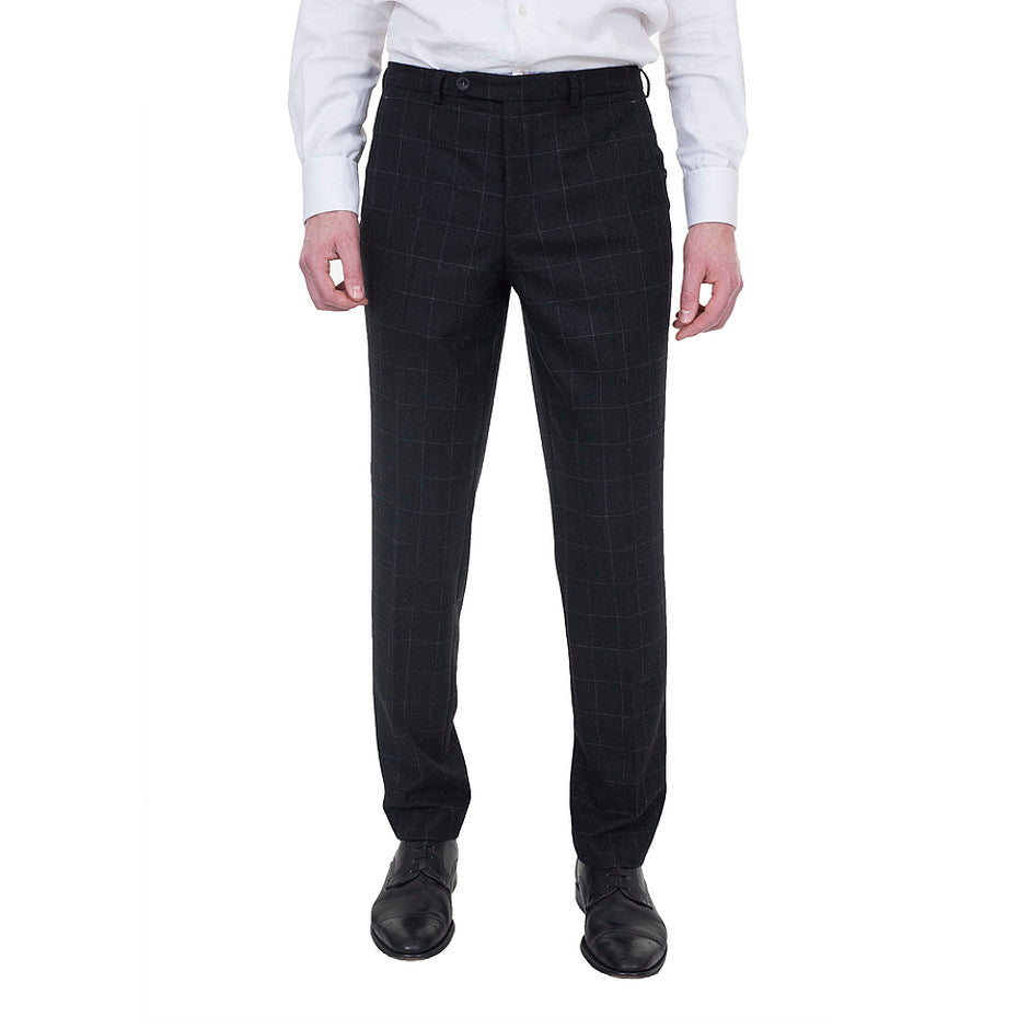 Slim Fit Check Trousers for Men in Grey
