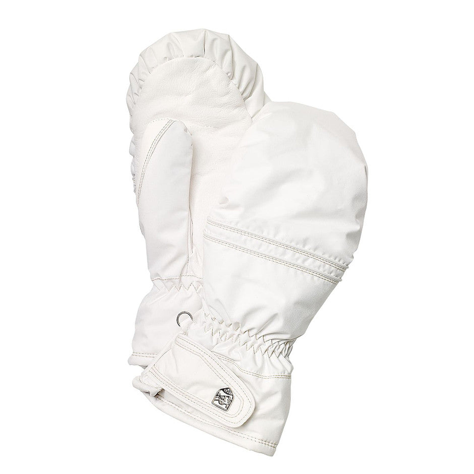 Primaloft Leather Ski Mitts for Women in White