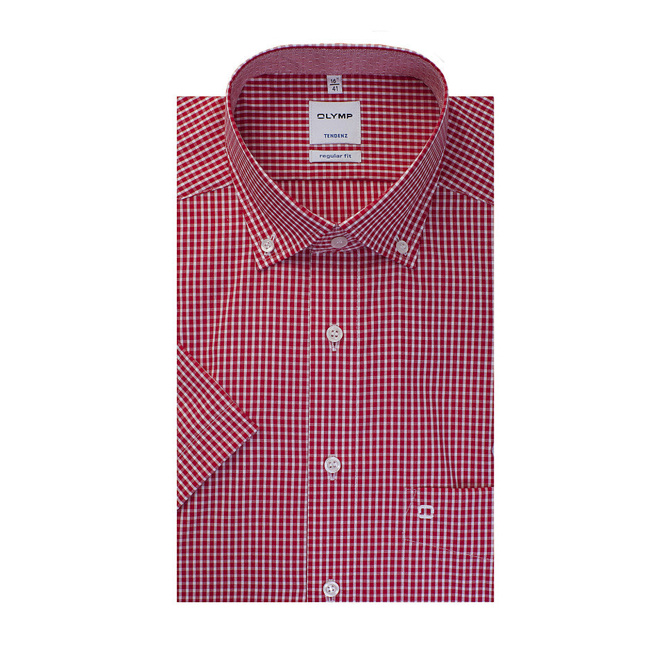 Tendenz Short Sleeve Shirt for Men in Bright Red Check