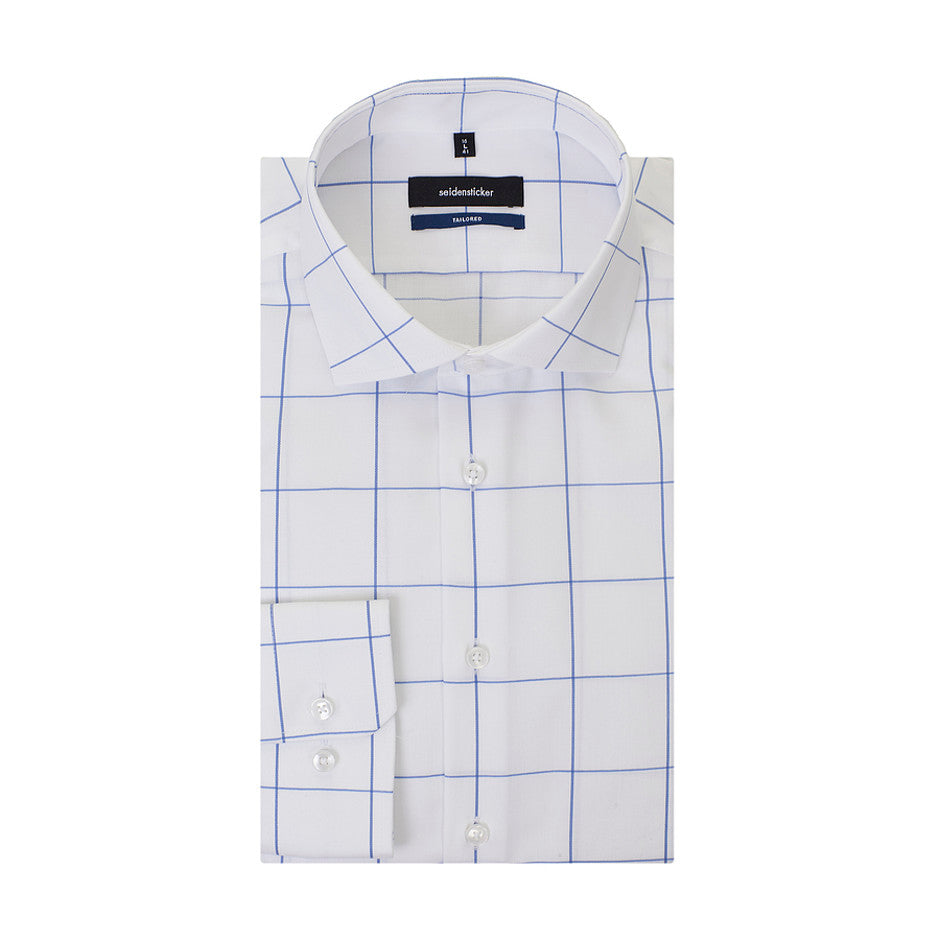 Tailored Fit Formal Check Shirt for Men in Blue and White