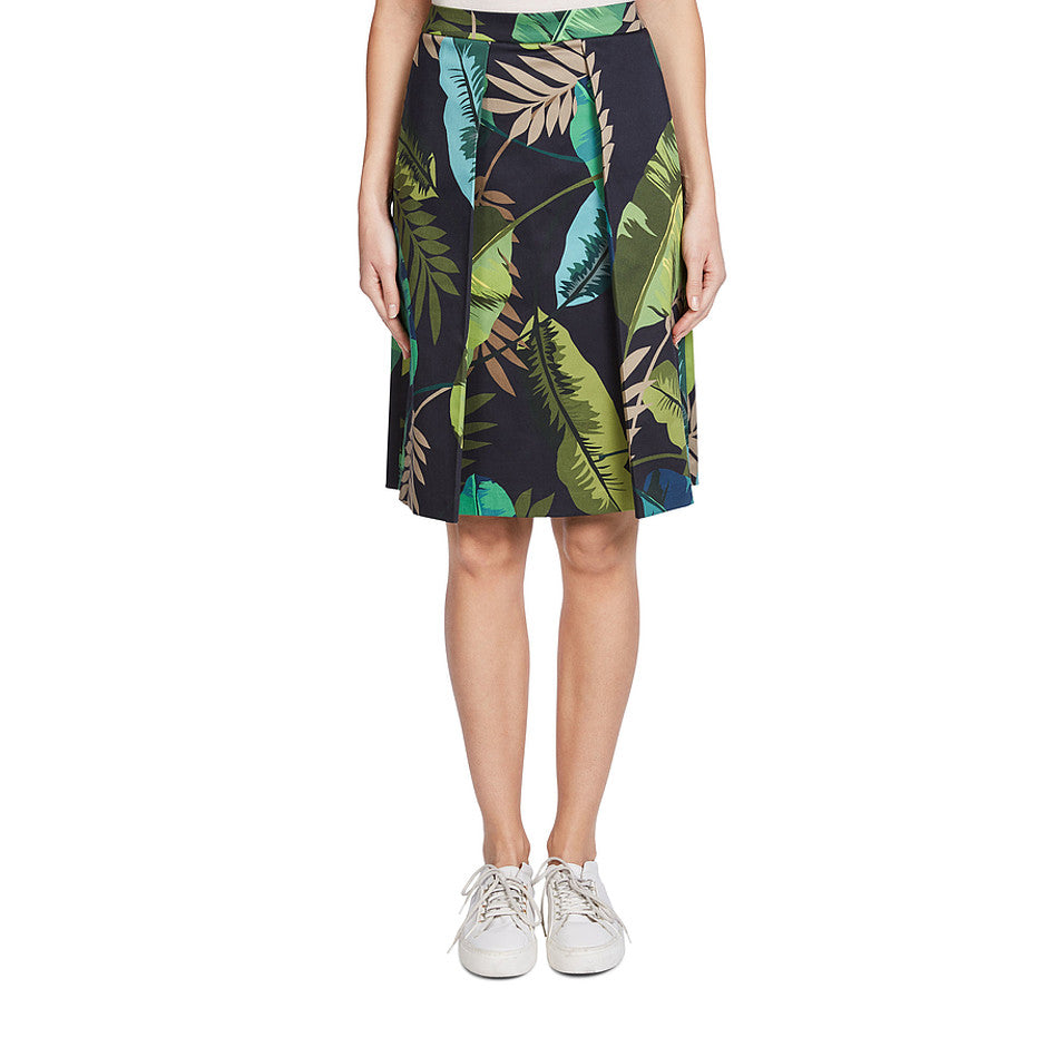 Leaf Print Midi Skirt for Women in Dark Blue Green