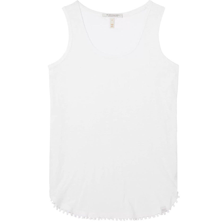 Linen Scoop Neck Tank for Women in White