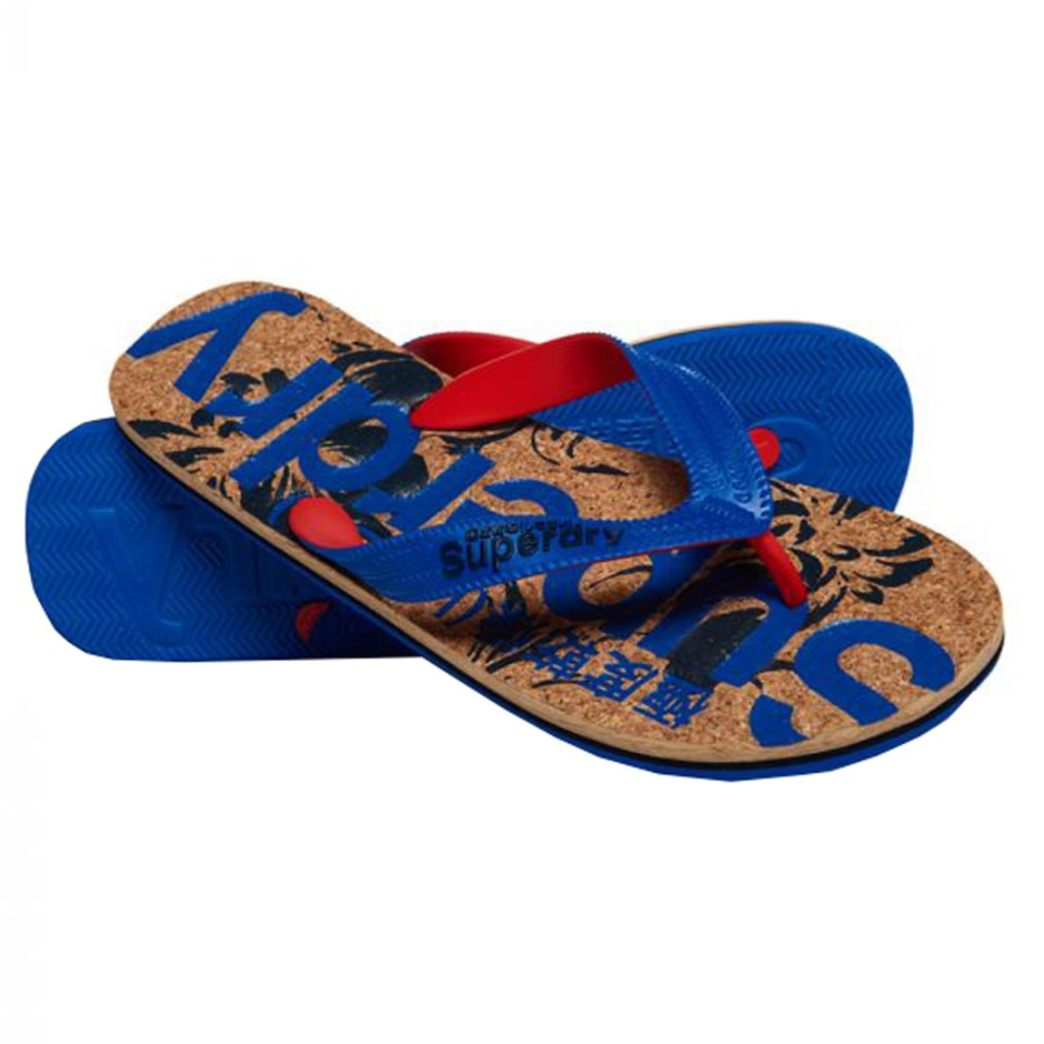 Printed Cork Flip Flops for Men in Blue and High Risk Red