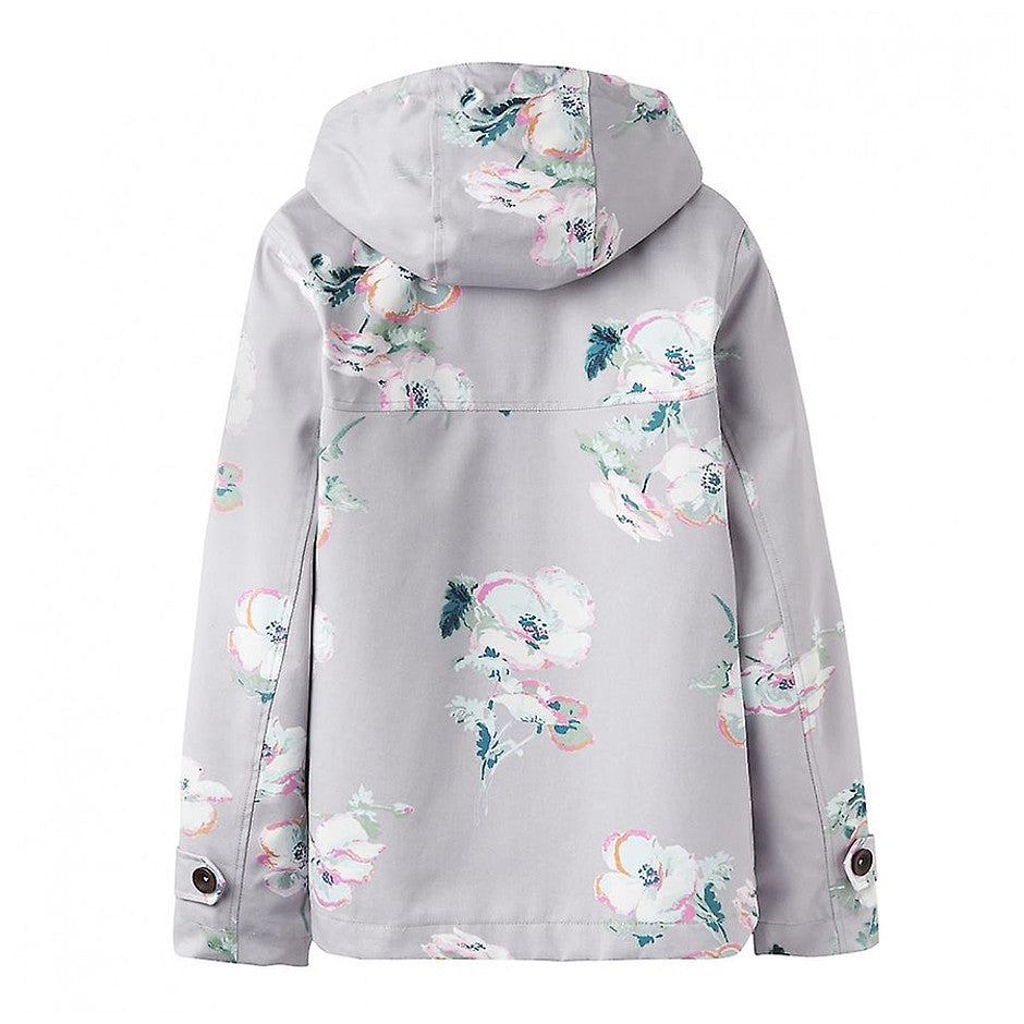 Coast Print Waterproof Hooded Jacket for Women in Cool Grey Poppy