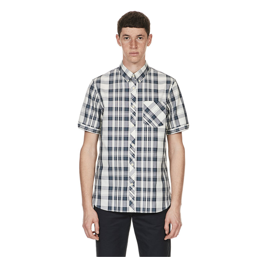 Short Sleeve Check Shirt for Men in Ombre Blue