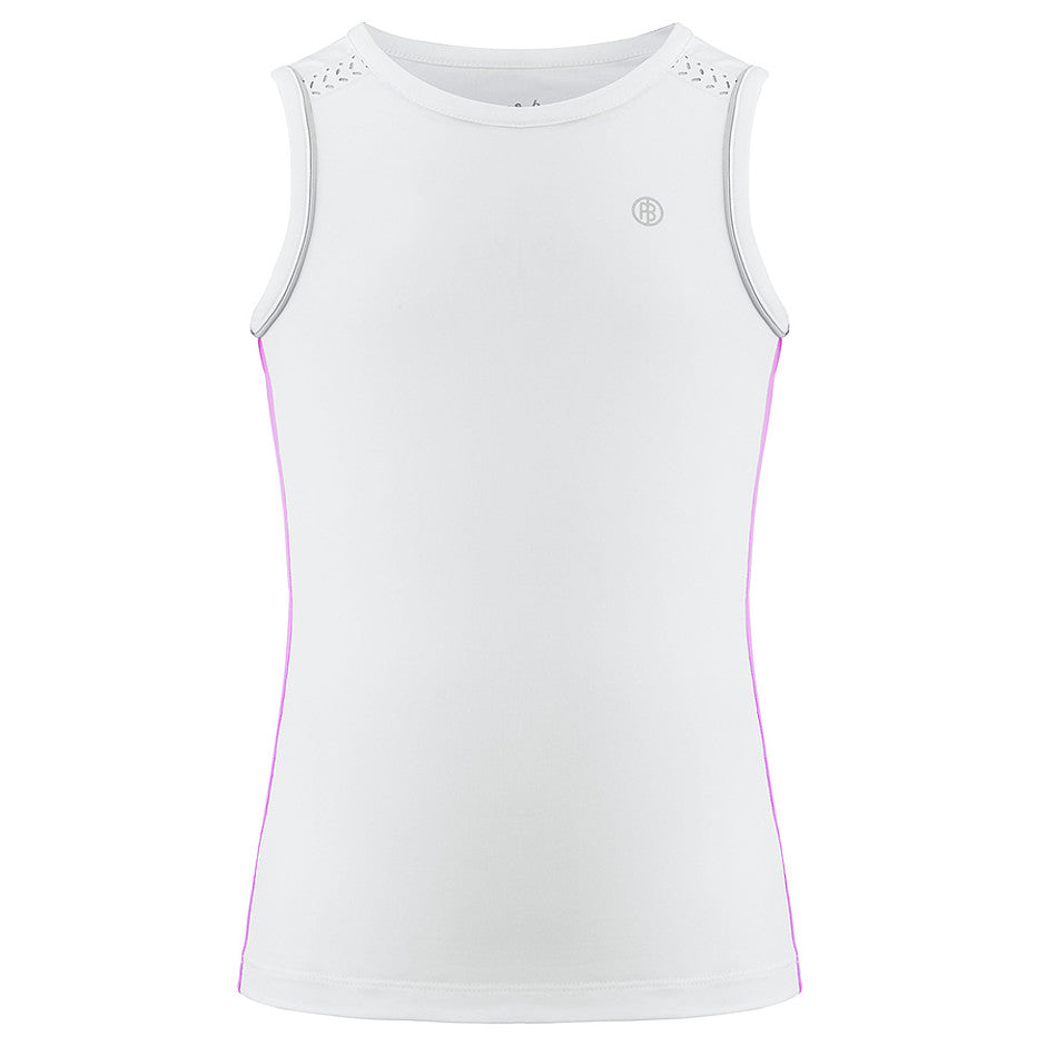 Tennis Tank Top for Girls in White and Pink