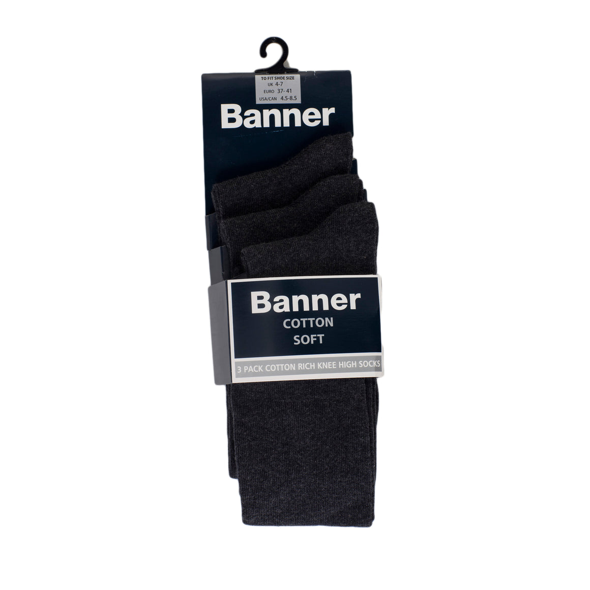 Knee High Sock 3 pr Charcoal for Kids in Charcoal